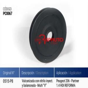 POLEA CIGÜEÑAL PEUGEOT 206TD / 307 TD / PARTNER 1400CC HDI REFORMA
